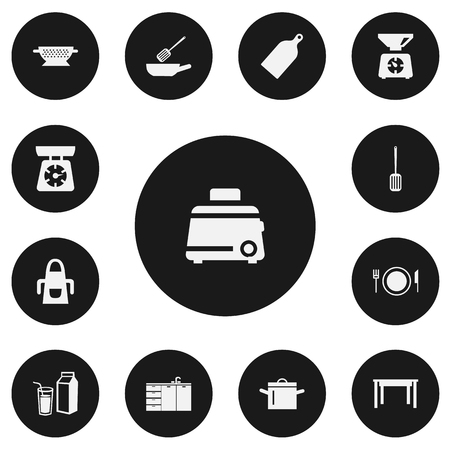 Set Of 13 Editable Cook Icons. Includes Symbols Such As Chopping Board, Uniform, Kitchen Shovel And More. Can Be Used For Web, Mobile, UI And Infographic Design. 版權商用圖片 - 90509354