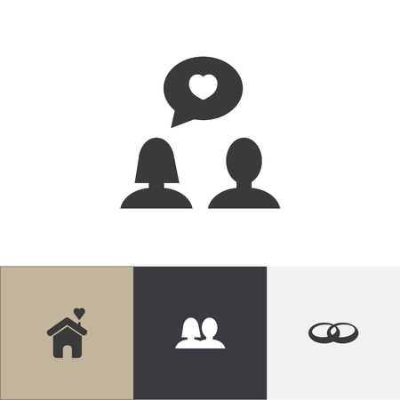 Set Of 4 Editable Heart Icons. Includes Symbols Such As Wedlock, Matrimony, Wedding And More. Can Be Used For Web, Mobile, UI And Infographic Design. Illustration