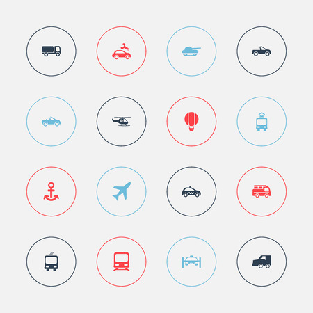 Set Of 16 Editable Transportation Icons. Includes Symbols Such As Aircraft, Repairing, Tanker And More. Can Be Used For Web, Mobile, UI And Infographic Design. Illustration