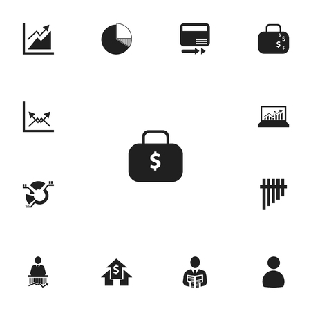 Set Of 13 Editable Logical Icons. Includes Symbols Such As Decrease, Segment, User And More. Can Be Used For Web, Mobile, UI And Infographic Design. Illustration
