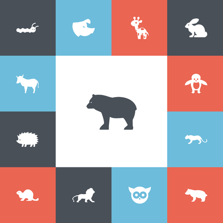 Set Of 13 Editable Animal Icons. Includes Symbols Such As Polar Animal, Panda, Night Fowl. Can Be Used For Web, Mobile, UI And Infographic Design.  イラスト・ベクター素材