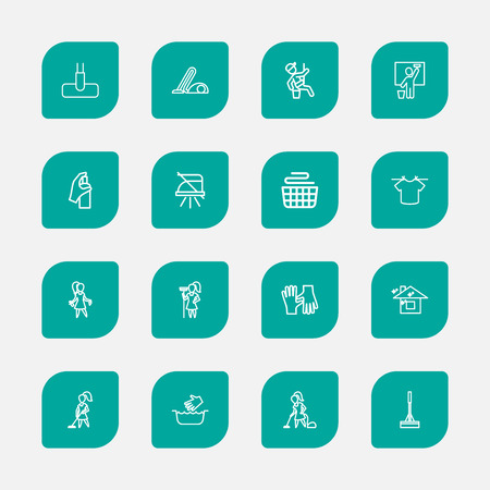 Set Of 16 Editable Cleanup Outline Icons. Includes Symbols Such As Woman, Window Cleaner, Housemaid And More. Can Be Used For Web, Mobile, UI And Infographic Design.