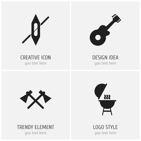 Set Of 4 Editable Camping Icons. Includes Symbols Such As Tomahawk, Boat, Musical Instrument And More. Can Be Used For Web, Mobile, UI And Infographic Design.