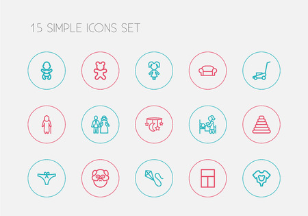 Set Of 15 Editable Family Outline Icons. Includes Symbols Such As Grass Cutting Machine, Canape, Grandfather. Can Be Used For Web, Mobile, UI And Infographic Design.