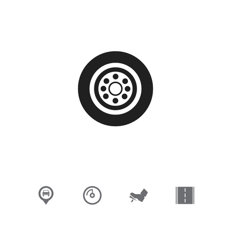 Set Of 5 Editable Vehicle Icons. Includes Symbols Such As Speed Display, Highway, Tire And More. Can Be Used For Web, Mobile, UI And Infographic Design. Stock Photo