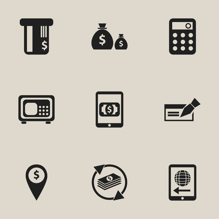 Set Of 9 Editable Financial Icons. Includes Symbols Such As Treasure, Exchange Center, Calculator And More. Can Be Used For Web, Mobile, UI And Infographic Design. Vectores