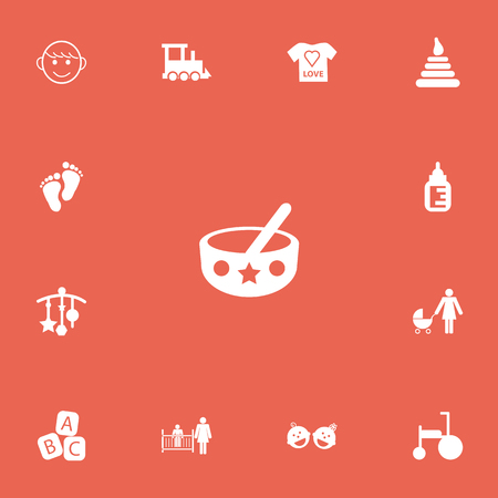 Set Of 13 Editable Baby Icons. Includes Symbols Such As Carefully Mother, Perambulator, Tower And More. Can Be Used For Web, Mobile, UI And Infographic Design. Ilustração