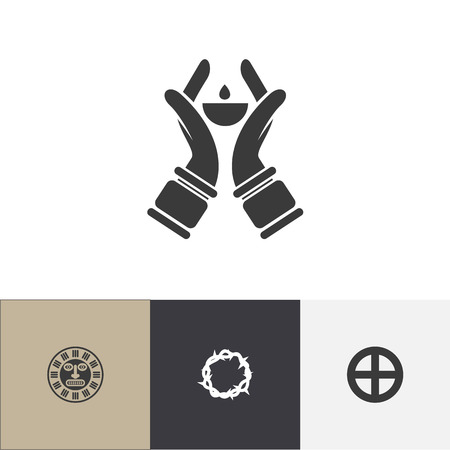 Set Of 4 Editable Dyne Icons. Includes Symbols Such As Plus In Circle, Candlestick, Tribal Mask. Can Be Used For Web, Mobile, UI And Infographic Design.