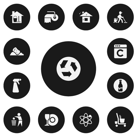 Set Of 13 Editable Cleaning Icons. Includes Symbols Such As Pulverizer, Bucket With Mop, Power And More. Can Be Used For Web, Mobile, UI And Infographic Design.