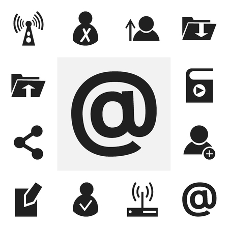 Set Of 12 Editable Web Icons. Includes Symbols Such As New Friend, Song List, Modem And More. Can Be Used For Web, Mobile, UI And Infographic Design. 일러스트
