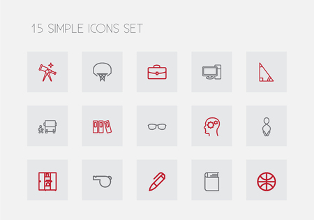 Set Of 15 Editable Teach Outline Icons. Includes Symbols Such As Encyclopedia, Scope, Gear And More. Can Be Used For Web, Mobile, UI And Infographic Design.