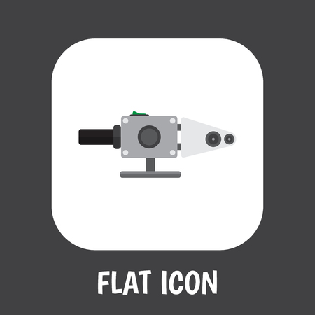 Vector Illustration Of Electrical Symbol On Soldering Pipe Flat Icon. Premium Quality Isolated Blowpipe Element In Trendy Flat Style.
