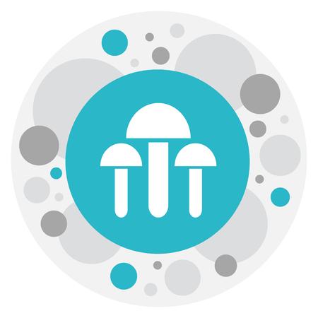 Vector Illustration Of Dessert Symbol On Mushroom Icon. Premium Quality Isolated Champignon Element In Trendy Flat Style.