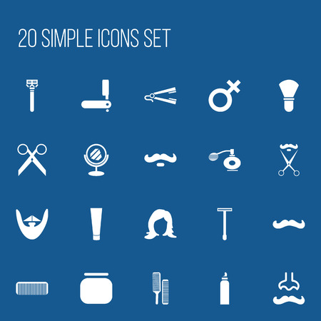 Set Of 20 Editable Barbershop Icons. Includes Symbols Such As Deodorant, Razor, Foam And More. Can Be Used For Web, Mobile, UI And Infographic Design.