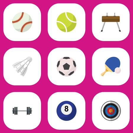 Set Of 9 Editable Sport Flat Icons. Includes Symbols Such As Glob, Miniball, Tennis And More. Can Be Used For Web, Mobile, UI And Infographic Design.