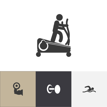 Set Of 4 Editable Active Icons. Includes Symbols Such As Training Pool, Heavy Training, Instruction Male And More. Can Be Used For Web, Mobile, UI And Infographic Design. Vettoriali