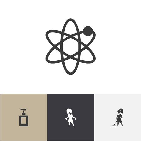 Set Of 4 Editable Cleanup Icons. Includes Symbols Such As Hand Sanitizer, Power, Tidy. Can Be Used For Web, Mobile, UI And Infographic Design.