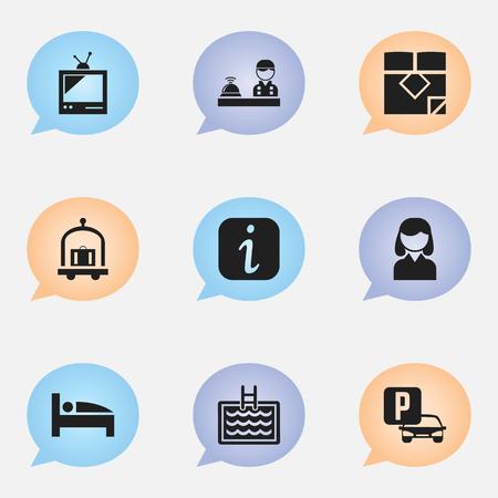 9 編集プラザ アイコンのセットです。情報サイン、マットレス、トロリーなどの記号が含まれています。Web、モバイル、UI、インフォ グラフィック