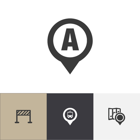 Set Of 4 Editable Navigation Icons. Includes Symbols Such As Marker, Car Location, Street Construction And More. Can Be Used For Web, Mobile, UI And Infographic Design. Illustration