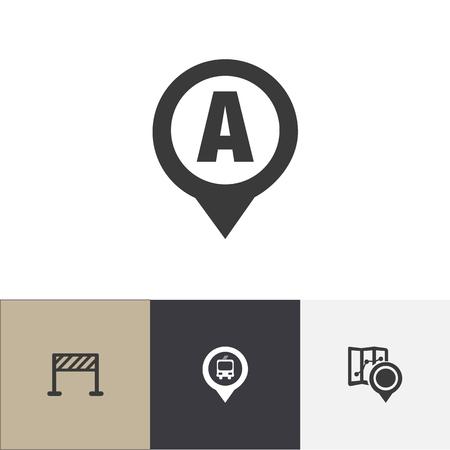 Set van 4 bewerkbare navigatie pictogrammen. Bevat symbolen zoals markering, autolocatie, straataanleg en meer. Kan worden gebruikt voor Web, Mobile, UI en Infographic Design.
