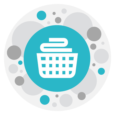 Vector Illustration Of Cleanup Symbol On Laundry Basket Icon. Premium Quality Isolated Clean Clothings Element In Trendy Flat Style.