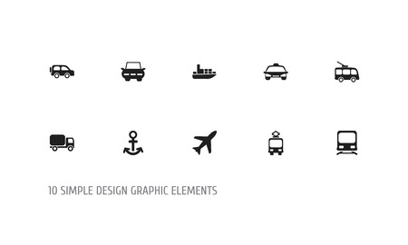 Set Of 10 Editable Shipment Icons. Includes Symbols Such As Ship, Omnibus, Taxi And More. Can Be Used For Web, Mobile, UI And Infographic Design.