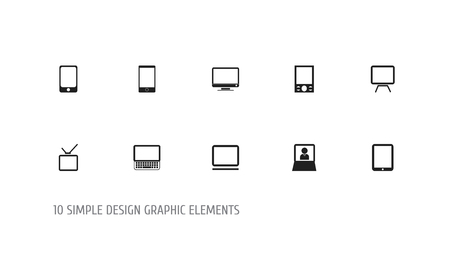Set Of 10 Editable Gadget Icons. Includes Symbols Such As Computer, Tablet Phone, Telly And More. Can Be Used For Web, Mobile, UI And Infographic Design. 일러스트