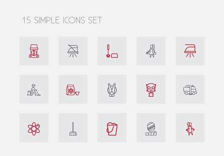 Set Of 15 Editable Hygiene Outline Icons. Includes Symbols Such As Industrial, Toilet Brush, Pressboard And More. Can Be Used For Web, Mobile, UI And Infographic Design. Illustration