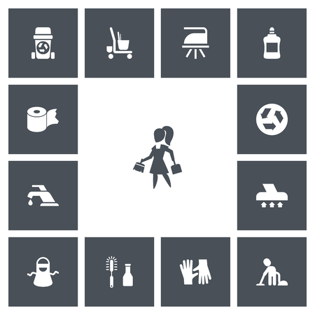 Set Of 13 Editable Cleanup Icons. Includes Symbols Such As Housework, Rubbish Container, Housekeeping Cart And More. Can Be Used For Web, Mobile, UI And Infographic Design.