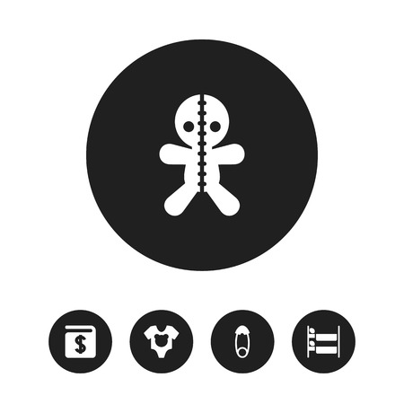 Set Of Editable Folks Icons. Includes Symbols Such As Fasten, Bodysuit, Bunk Bed And More. Can Be Used For Web, Mobile, UI And Infographic Design. Illustration