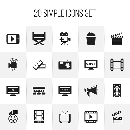 Set Of 20 Editable Filming Icons. Includes Symbols Such As Photographing, Telly, Movie And More. Can Be Used For Web, Mobile, UI And Infographic Design. Ilustração