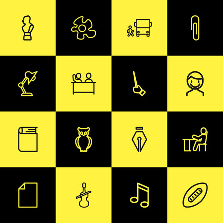 Set Of Editable Teach Outline Icons. Includes Symbols Such As Male, Fastener Page, Food And More. Can Be Used For Web, Mobile, UI And Infographic Design.