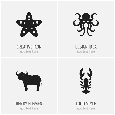 Set Of 4 Editable Zoo Icons. Includes Symbols Such As Crawfish, Tentacle, Sea Star And More. Can Be Used For Web, Mobile, UI And Infographic Design. Illustration