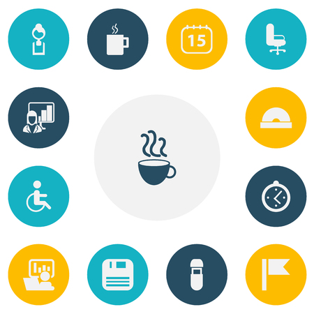 Set Of 13 Editable Bureau Icons. Includes Symbols Such As Presentation, Publicity, Work Seat And More. Can Be Used For Web, Mobile, UI And Infographic Design. Illustration