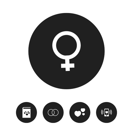 Set Of 5 Editable Love Icons. Includes Symbols Such As Smartphone, Woman Symbol, Textbook And More. Can Be Used For Web, Mobile, UI And Infographic Design. Illustration