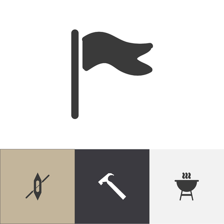 Set Of Editable Travel Icons. Includes Symbols Such As Boat, Pennant, Handle Hit