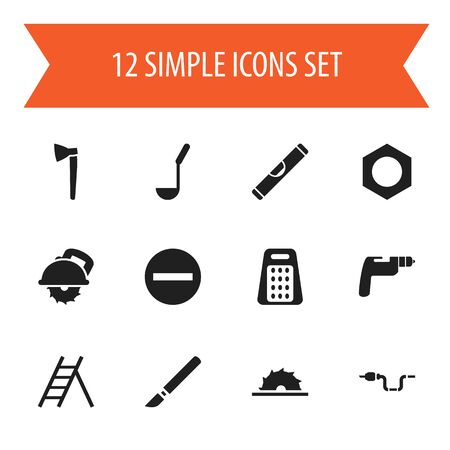 Set Of 12 Editable Apparatus Icons. Includes Symbols Such As Internal Screw, Scale, Shredder And More