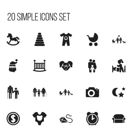 Set Of Editable Family Icons. Includes Symbols Such As Perambulator, Family, Grandchild. Can Be Used For Web, Mobile, UI And Infographic Design.