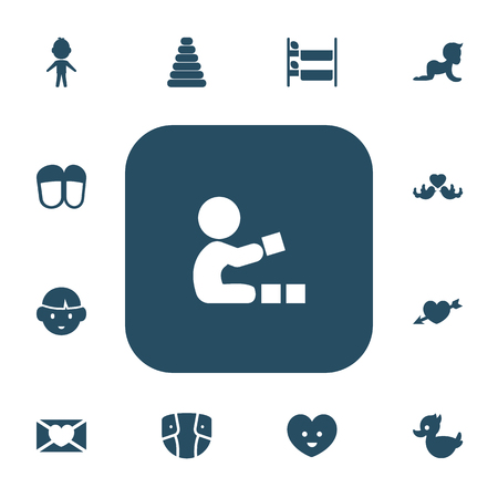Set Of 13 Editable Family Icons. Vectores