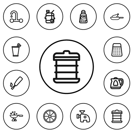 Set Of 12 Editable Cook Outline Icons.