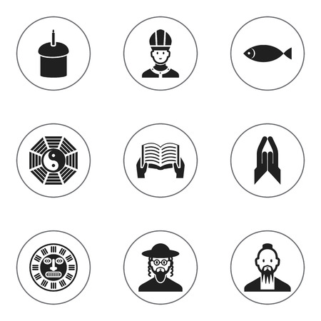 Set Of 9 Editable Faith Icons. Includes Symbols Such As Blessing, Fish, Hebrew And More. Can Be Used For Web, Mobile, UI And Infographic Design.
