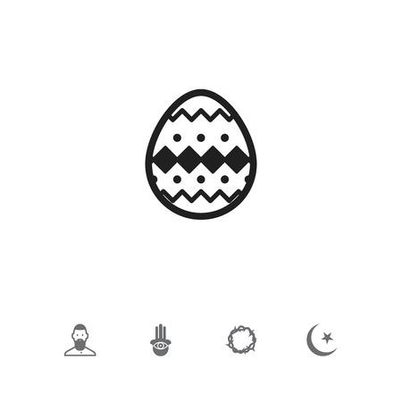 Set di 5 icone di religione modificabili. Include simboli come occhio a portata di mano, uovo musulmano e ornato. Può essere utilizzato per Web, dispositivi mobili, interfaccia utente e progettazione infografica.