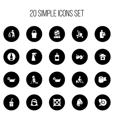 Set Of 20 Editable Hygiene Icons. Includes Symbols Such As No Laundry, Badge, Brooming And More. Can Be Used For Web, Mobile, UI And Infographic Design. Stock Photo
