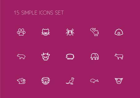 Set van 15 bewerkbare dierenoverzichtspictogrammen. Bevat symbolen zoals Lion, Kitty, Spinner en meer. Kan worden gebruikt voor web, mobiel, gebruikersinterface en infographic ontwerp.