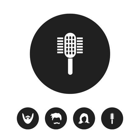 Set Of 5 Editable Barbershop Icons. Illustration