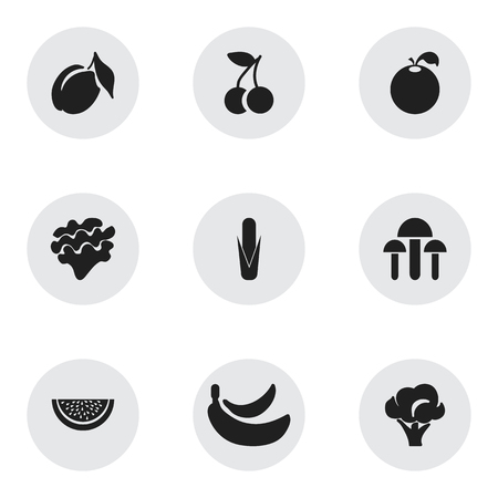 Set Of 9 Editable Fruits Icons. Includes Symbols Such As Champignon, Apricot, Delicious And More. Can Be Used For Web, Mobile, UI And Infographic Design. Illustration