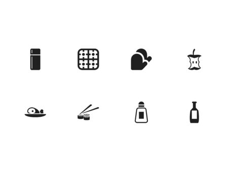 Set Of 8 Editable Meal Icons. Includes Symbols Such As Gas Burner, Meat, Sushi Rolls And More. Can Be Used For Web, Mobile, UI And Infographic Design.