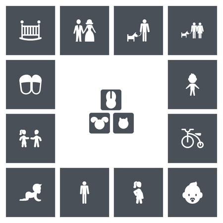 Set of editable relatives icons. Includes symbols such as pregnant woman, child, baby bed and more. Can be used for web, mobile, UI and infographic design. Vectores