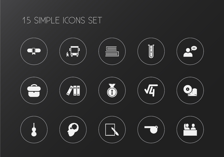 Set of editable education icons. Includes symbols such as binder, case, radical and more. Can be used for web, mobile, UI and infographic design.