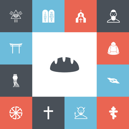 Set of editable religion icons. Includes symbols such as cross, torii, mullah and more. Can be used for web, mobile, UI and infographic design. Illustration